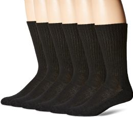 180 Units of Hanes Mens Black Cushioned Crew Socks, Shoe Size 6-12 - Men's Socks for Homeless and Charity