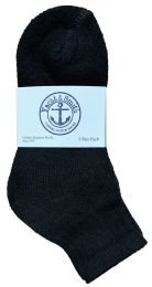 72 Units of Yacht & Smith Kids Cotton Quarter Ankle Socks In Black Size 6-8 Bulk Pack - Boys Ankle Sock