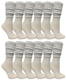 48 Units of Yacht & Smith Slouch Socks For Women, Solid White Size 9-11 - Womens Crew Sock	 - Womens Crew Sock