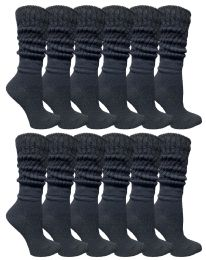 60 Units of Yacht & Smith Slouch Socks For Women, Solid Black Size 9-11 - Womens Crew Sock	 - Womens Crew Sock