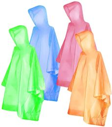 300 Units of Yacht & Smith Unisex One Size Reusable Rain Poncho Assorted Colors 60G PEVA - Umbrellas & Rain Gear