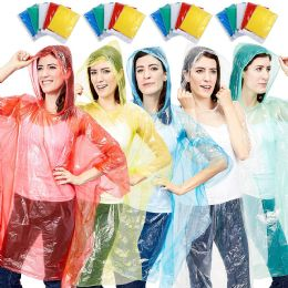 300 Units of Yacht & Smith Unisex One Size Reusable Rain Poncho Assorted Colors 60g pe - Event Planning Gear