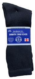 240 Units of Yacht & Smith Men's King Size Loose Fit NoN-Binding Cotton Diabetic Crew Socks Black Size 13-16 - Big And Tall Mens Diabetic Socks