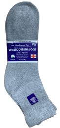 72 Units of Yacht & Smith Men's King Size Loose Fit Non-Binding Cotton Diabetic Ankle Socks,Gray Size 13-16 - Big And Tall Mens Diabetic Socks