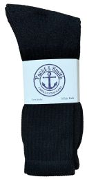 36 Units of Yacht & Smith Mens Soft Cotton Athletic Crew Socks, Terry Cushion, Sock Size 10-13 Black - Mens Crew Socks