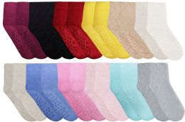 120 Units of Yacht & Smith Women's Solid Color Gripper Fuzzy Socks Assorted Colors, Size 9-11 - Womens Fuzzy Socks