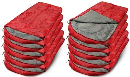 30 Units of Yacht & Smith Temperature Rated 72x30 Sleeping Bag Solid Red - Camping Sleeping Bags