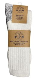 120 Units of Yacht & Smith Men's Heavy Duty Steel Toe Work Socks, White, Sock Size 10-13 - Mens Crew Socks