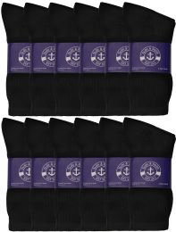 72 Units of Yacht & Smith Womens Cotton Black Crew Socks, Sock Size 9-11 - Womens Crew Sock