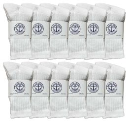 48 Units of Yacht & Smith Kids Cotton Terry Cushioned Crew Socks White Size 6-8 Bulk Pack - Boys Crew Sock