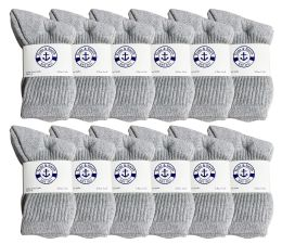 36 Units of Yacht & Smith Kids Cotton Terry Cushioned Crew Socks Gray Size 6-8 - Boys Crew Sock