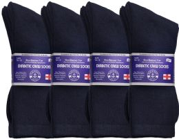 240 Units of Yacht & Smith Men's Loose Fit Non-Binding Soft Cotton Diabetic Crew Socks Size 10-13 Navy Bulk Pack - Men's Socks for Homeless and Charity