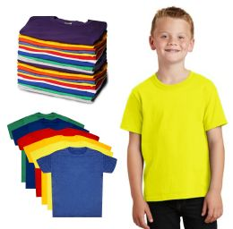144 Units of Kids Unisex Cotton Crew Neck T-Shirts, Assorted Sizes And Colors, Ages 4-12 - Boys T Shirts