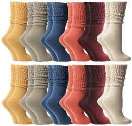36 Units of Yacht & Smith Slouch Socks For Women, Assorted Colors Size 9-11 - Womens Scrunchie Sock - Womens Crew Sock