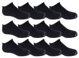 240 Units of Yacht & Smith Kids 97% Cotton Light Weight No Show Ankle Socks Solid Navy Size 6-8 - Girls Ankle Sock