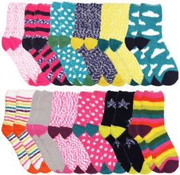84 Units of Yacht & Smith Women's Assorted Printed Fuzzy Socks Assorted Colors, Size 9-11 - Womens Fuzzy Socks