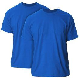 144 Units of Mens Cotton Crew Neck Short Sleeve T-Shirts Solid Blue, X Large - Mens Clothes for The Homeless and Charity