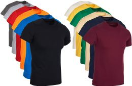 144 Units of Mens Cotton Crew Neck Short Sleeve T-Shirts Irregular , Assorted Colors And Sizes S-4XL - Mens T-Shirts