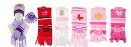 216 Units of Yacht & Smith Girls 3 Piece Winter Set , Hat Glove Scarf Assorted Prints Ages 1-8 - Winter Care Sets