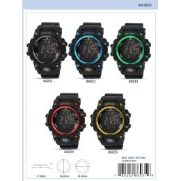 12 Units of 56MM Montres Carlo 5ATM Digital Watch - 86034-ASST - Digital Watches