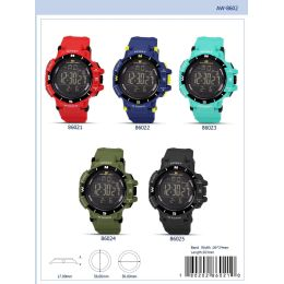 12 Units of 56MM Montres Carlo 5ATM Digital Watch - 86023-ASST - Digital Watches