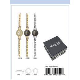 12 Units of 34MM Montres Carlo IP Plated Japan Movt. Watch - 43041-ASST - Women's Watches
