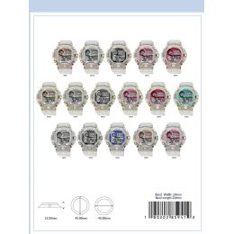 12 Units of 45mm Montres Carlo 5atm Circular Transparent Digital Watch - 85948-Asst - Digital Watches