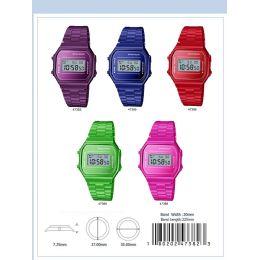 12 Units of 35mm Retro Digital Metal Band Watch - 47383-Asst - Digital Watches