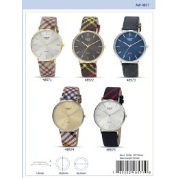 12 Units of 40mm Milano Expressions Tartan Vegan Leather Band Watch - 48573-Asst - Women's Watches