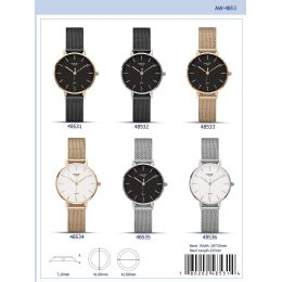 12 Units of 41mm Milano Expressions Mesh Band Watch - 48533-Asst - Women's Watches