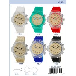 12 Units of 49mm Milano Expressions Clear Case Silicon Band Watch - 48512-Asst - Men's Watches