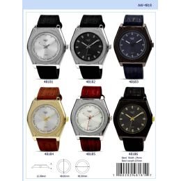 12 Units of 48MM Milano Expressions Vegan Leather Band Watch - 48185-ASST - Men's Watches