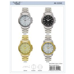 12 Units of 43mm Milano Expressions Metal Band Watch - 35452-Asst - Men's Watches