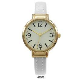 12 Units of White Vegan Leather Cuff Watch - 47572-Asst - Women's Watches