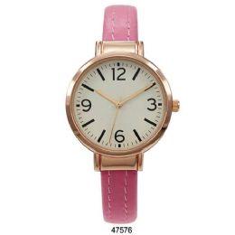 12 Units of Hot Pink Vegan Leather Cuff Watch - 47576-Asst - Women's Watches