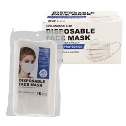 50 Units of 3-Ply Protective Disposable Face Cover - White - PPE