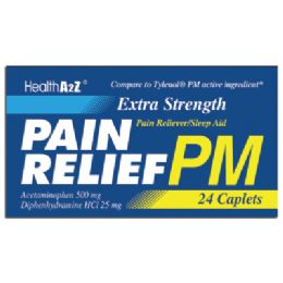 24 Units of Pain Relief Pm Caplets 24 Count Acetaminophen 500 Mg/ Diphenhydramine Hci 25 Mg Compare To Tylenol pm - Personal Care Items