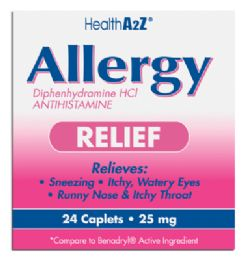 24 Units of Allergy Relief 24 Coated Caplets Diphenhydramine 25 Mg Compare To Benadryl - Personal Care Items