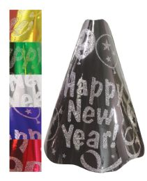 120 Units of NEW YEAR PARTY HAT 6 ASSORTED COLORS WITH GLITTER - New Years