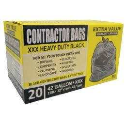 6 Units of CONTRACTOR BAG 20 CT 42 GALLON 32 X 46 INCH HEAVY DUTY BLACK - Bags Of All Types