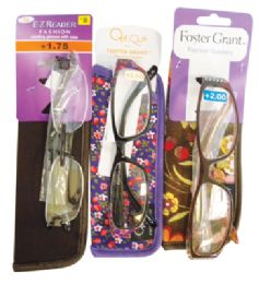 75 Units of FOSTER GRANT PREMIUM READING GLASSES WITH CASES ASSORTED STYLES AND POWERS +1.75 TO 2.25 - Reading Glasses
