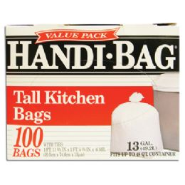 6 Units of Handi Bag Trash Bags 100 Count 13 Gallon White - Bags Of All Types