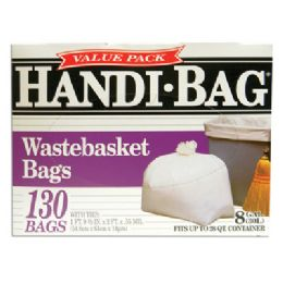 6 Units of Handi Bag Wastebasket Trash Bags 130 Count 8 Gallon White - Bags Of All Types