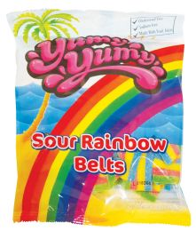 12 Units of Yumy Yumy Sour Rainbow Belts 4.5 oz - Food & Beverage