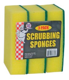 36 Units of Scrubbing Sponge 3 Pack 5.5 X 3.75 Inch - Scouring Pads & Sponges