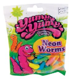 12 Units of YUMY YUMY NEON WORMS 4.5 OZ - Food & Beverage