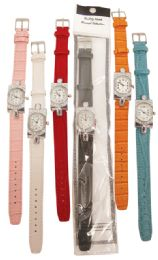 30 Units of LADIES WATCH DIAMOND ENCRUSTED TOP AND BOTT LEATHERETTE ASST COLORS