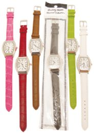 30 Units of LADIES WATCH OBLONG DIAMOND ENCRUSTED LEATHERETTE STLYE B ASST COLORS