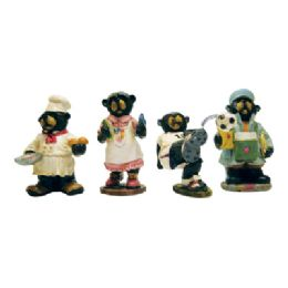 24 Units of Polyresin Figurines 5 Inch Assorted Bear Designs - Party Favors