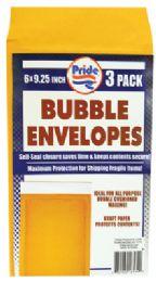36 Units of BUBBLE ENVELOPE 3 PACK 6 X 9.25 INCH - Envelopes